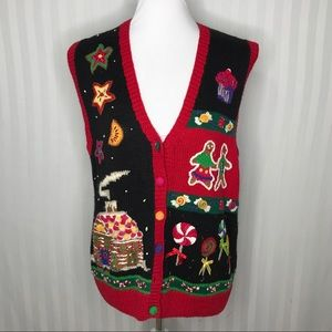 Bechamel Gingerbread House Knit Sweater Vest